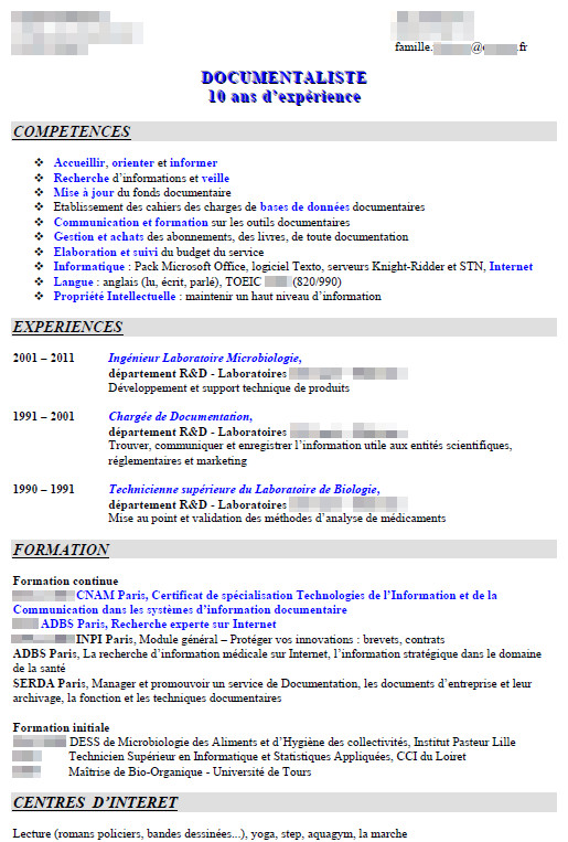 modele cv scientifique en anglais